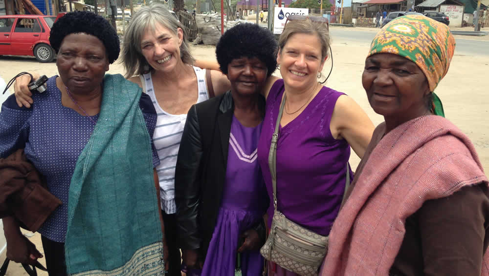Mapusha Weavers, Judy and guest in Acornhoek, South Africa